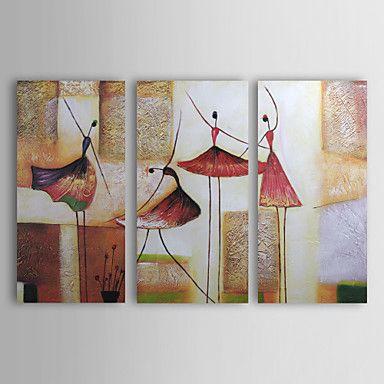 Tele Dipinte Moderne.95 87 Oil Paintings Set Of 3 Modern Abstract Girls Dancing