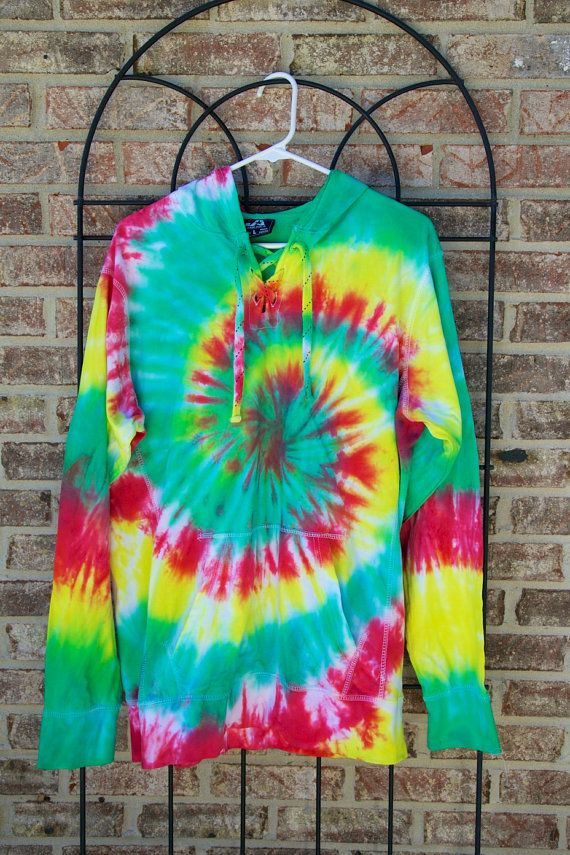 Tie Dye Hoodie Sweatshirt - Handmade - 100% Cotton with Drawstring Hood - Festival Fashion - Custom - Sizes S-3XL