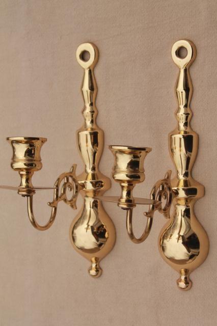Vintage Baldwin Br Wall Mount Candle Holder Sconces Polished Solid