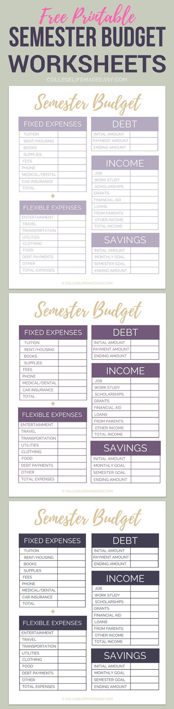 Worksheets Printable Fafsa Worksheet free printable college semester budget worksheets organize your finances in minutes and college