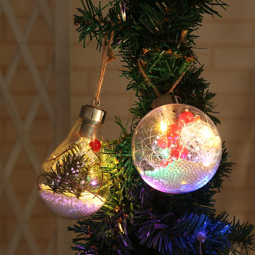 Takefuns Christmas Balls Christmas Ornaments Set New Led Tree Christmas Ornament Glass Transparent Ball Led Night Lights Hanging Classic Christmas Decorations Christmas Yard Decorations Christmas Decorations