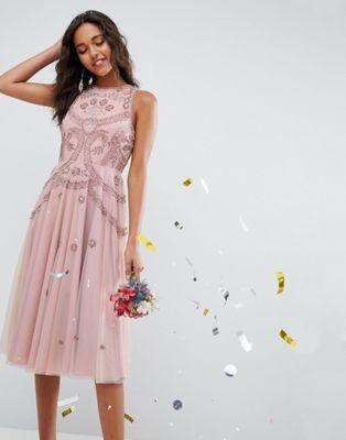 5aee70062e1f ASOS WEDDING Iridescent Delicate Beaded Open Back Skater Midi Dress ...