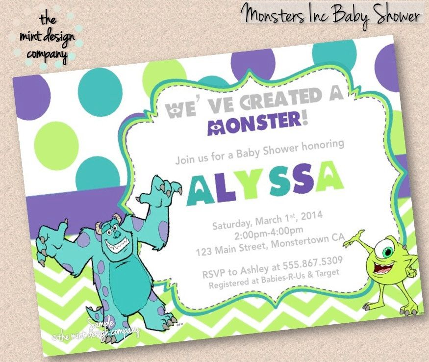 Monsters Inc Baby Shower Invitation Boy or by themintdesigncompany ...