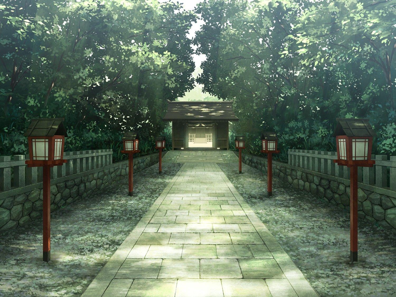 temple, landscape, trees, shrine, anime wallpaper