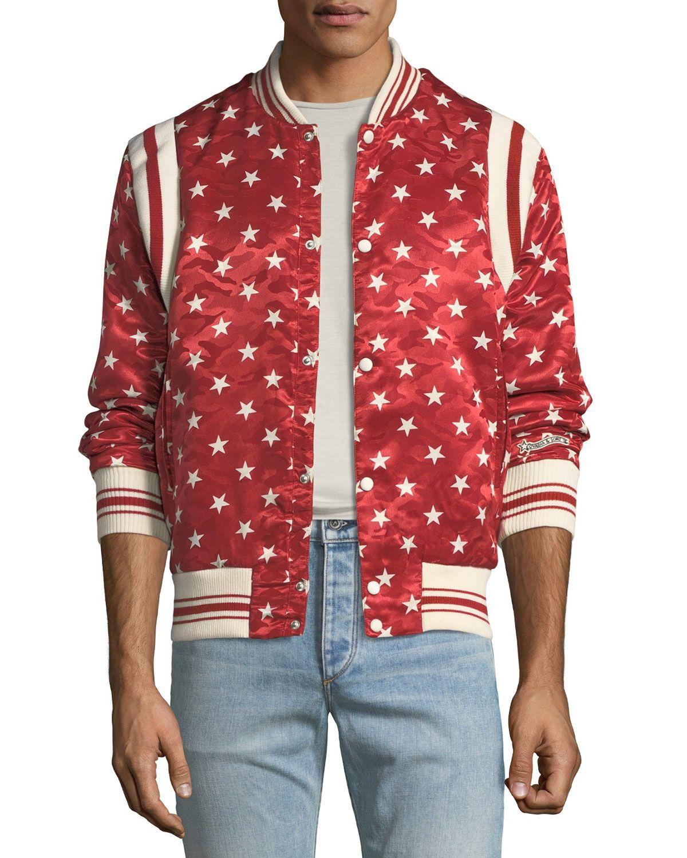 Ovadia Sons Ball Star Satin Bomber Jacket In Red White Modesens Satin Bomber Jacket Bomber Outfit Bomber Jacket [ 1500 x 1200 Pixel ]