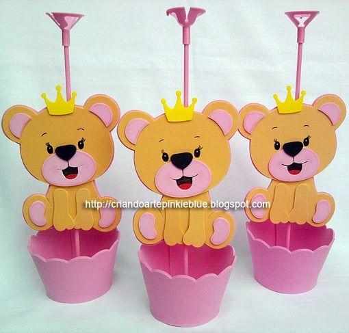 Pinkie Blue Artigos para festa: Ursinha princesa (eva) -centro de mesa