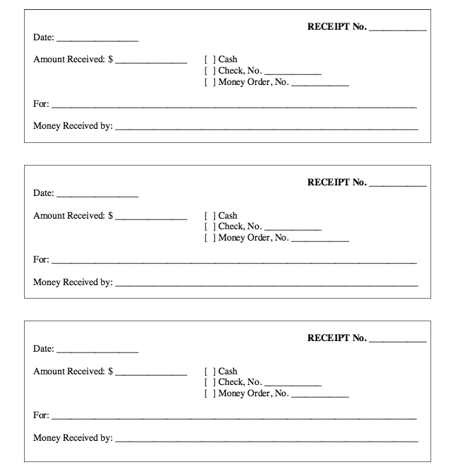 Free Printable Receipt Form Template  HttpResumesdesignCom