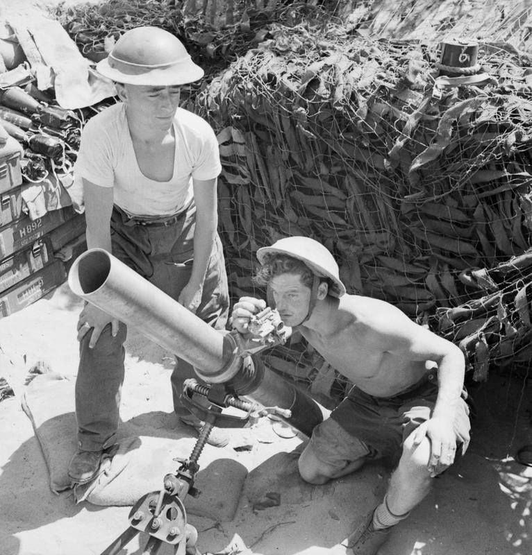 4.2-inch mortar of 1st Infantry Brigade's support group, firing in support of the 5th Northamptonshire Regiment in the Anzio bridgehead, 18 May 1944. IWM