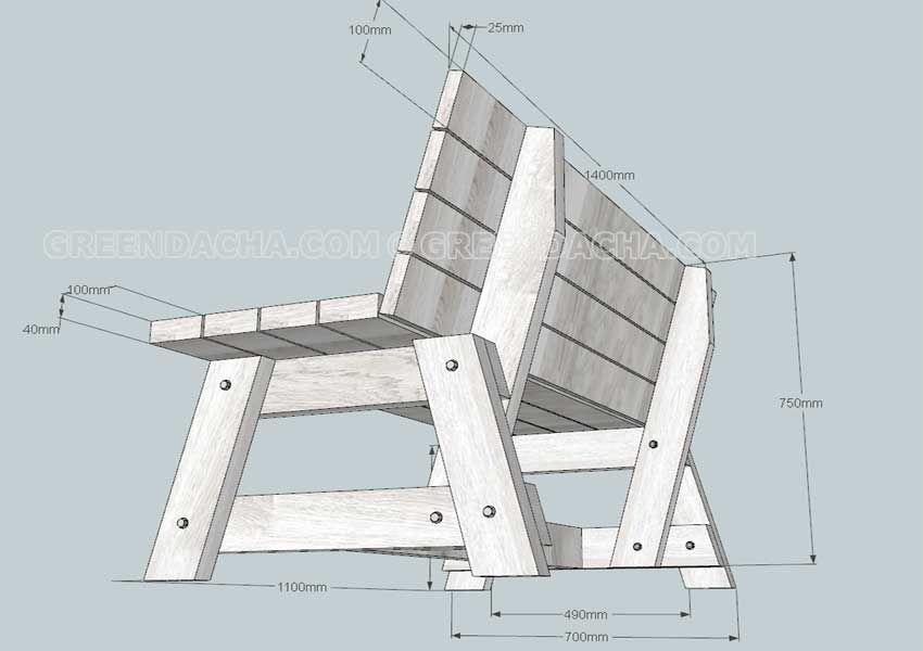 Чертеж садовой скамейки - 3. | stool bench etc | Pinterest ...
