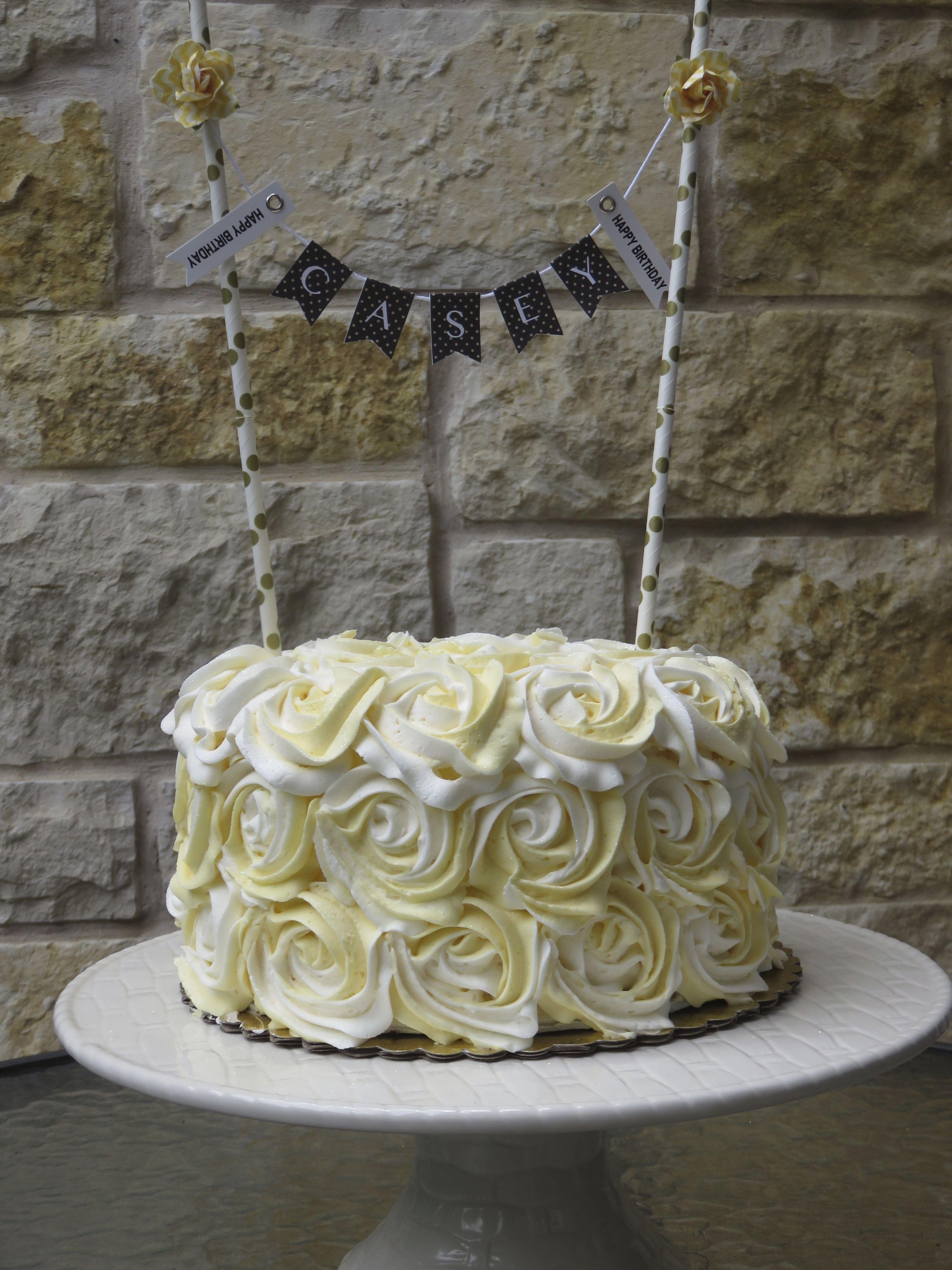 Beautiful Yellow White Rose Birthday Cake Cakes Pinterest