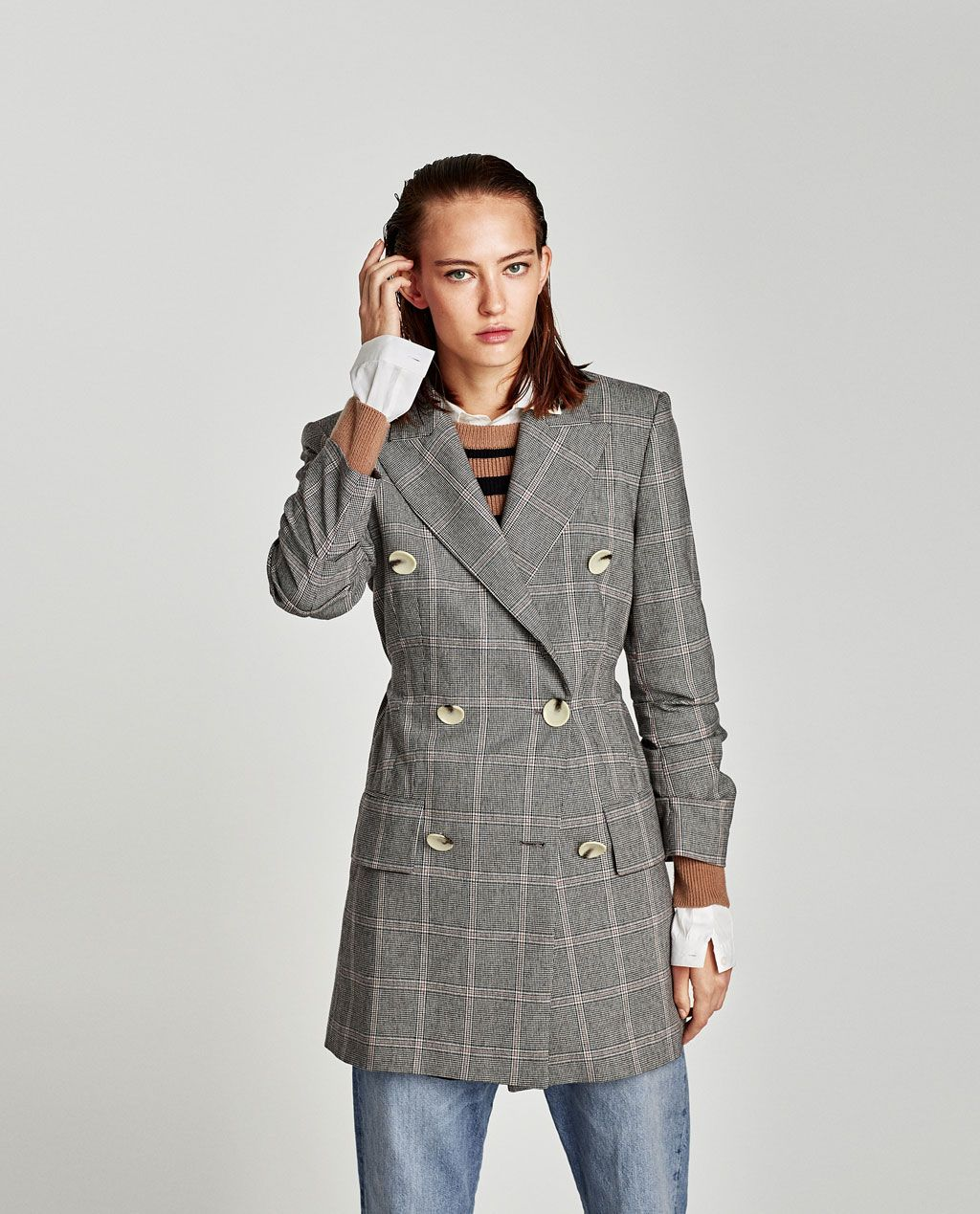 42c18e310a Image 2 of CHECKED DRESS BLAZER from Zara