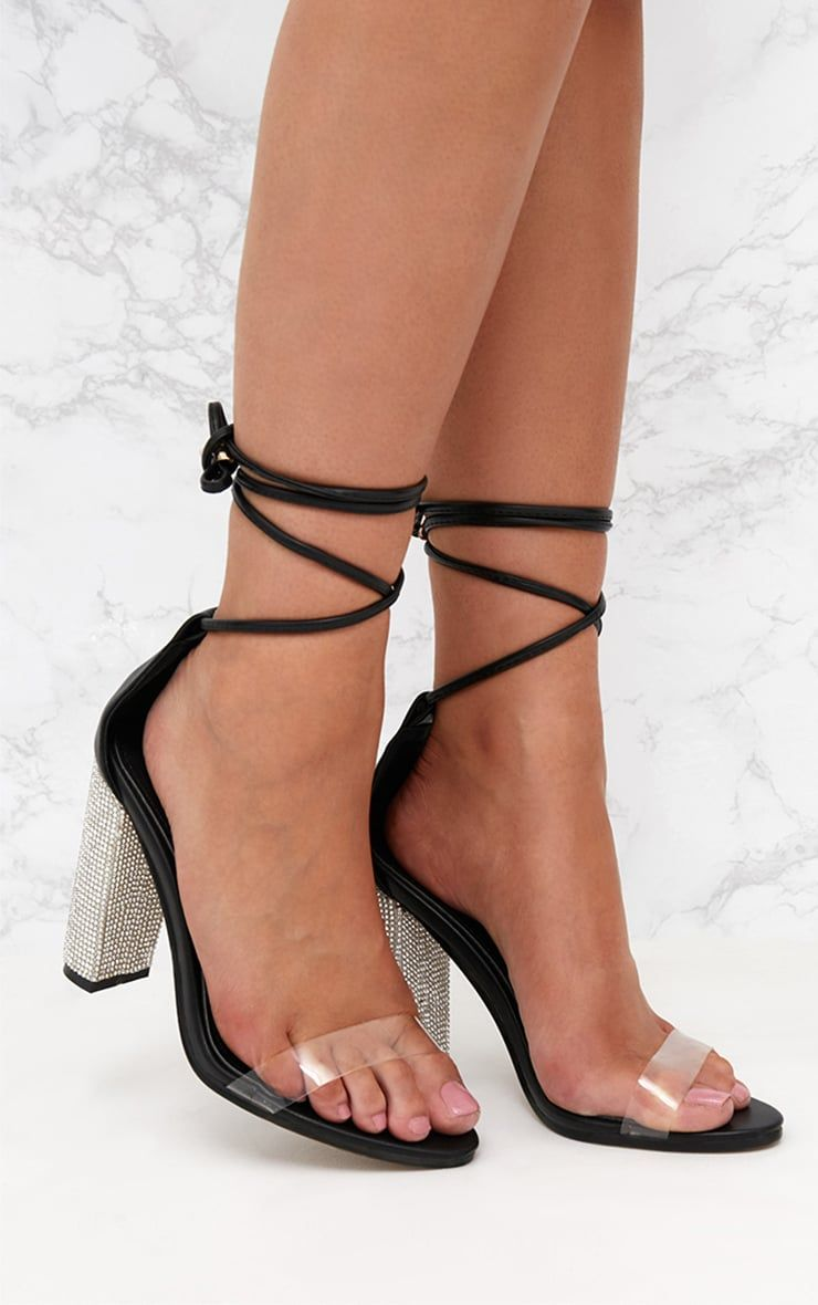 a8db29a765 Black Lace Up Diamante Heels | Thin back heels | Heels, Leather ...