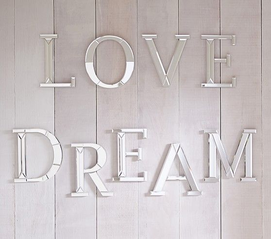 Wish Mirrored Wall Decor Letter Wall Mirror Letters