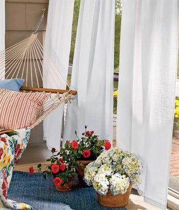Savannah Seersucker Rod Pocket Curtains -White/Blue Stripe