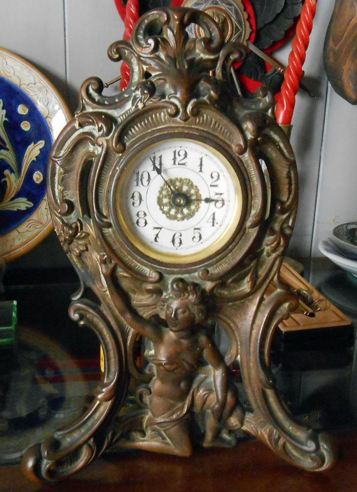 Antico orologio da tavolo meccanico a bilancere semplice - Orologio da tavolo antico ...