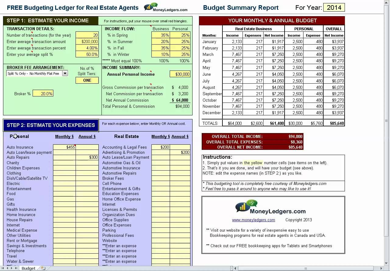 free simple budget software for real estate agents download it