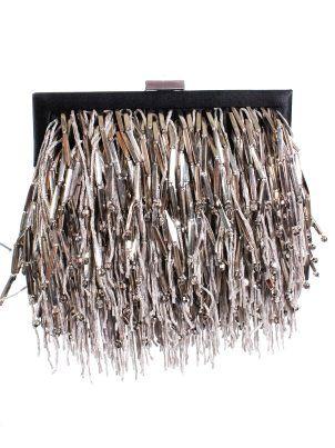 Fringe Beaded Clutch #fringe #metallic #clutch #bag www.loveitsomuch.com