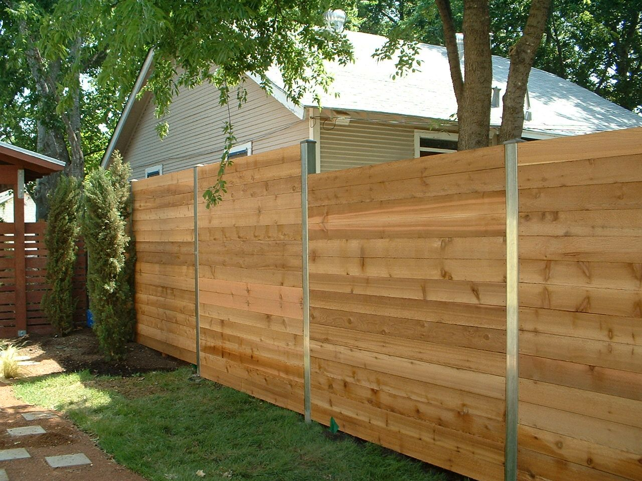 Stairstepped Custom Horizontal Steel Posts Fences To