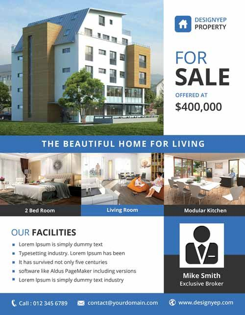 Real Estate Free PSD Flyer Template ff Pinterest Free psd - For Sale Ad Template