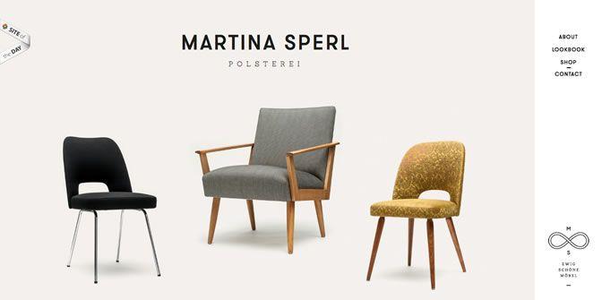 Perles de disseny web: Martina Sperl | Us parlem del web de Martina Sperl, que, amb un disseny web sobri i minimalista, ens presenta les cadires antigues a les que dóna nova vida. #dissenyWeb #minimalisme