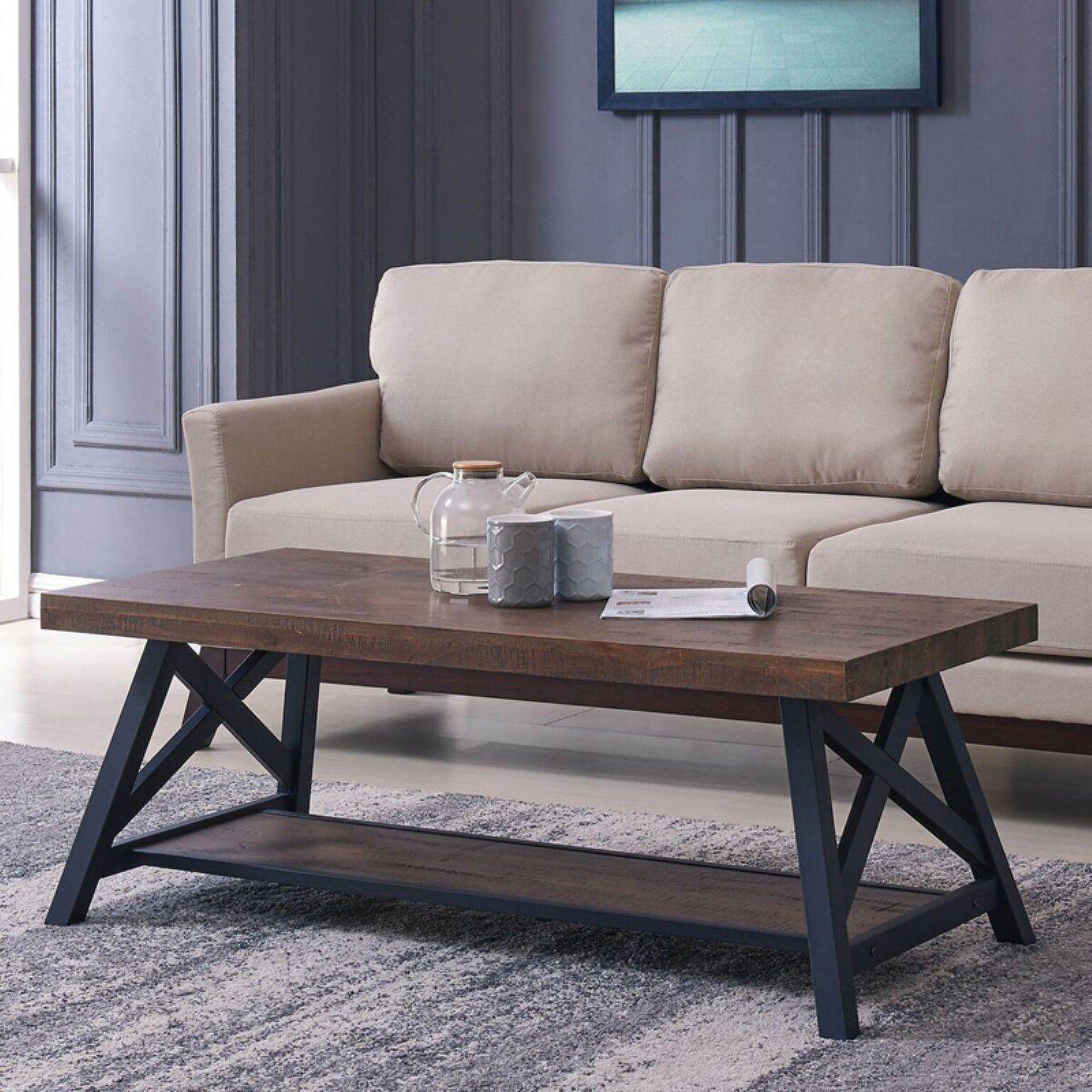 Nspire Rustic Modern 2 Tier Pine Veneer And Metal Coffee Table Coffee Table Metal Coffee Table Rectangular Coffee Table [ 1600 x 1600 Pixel ]