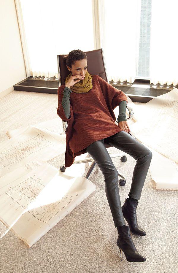 Vince Sweater Poncho, Tee & Leggings