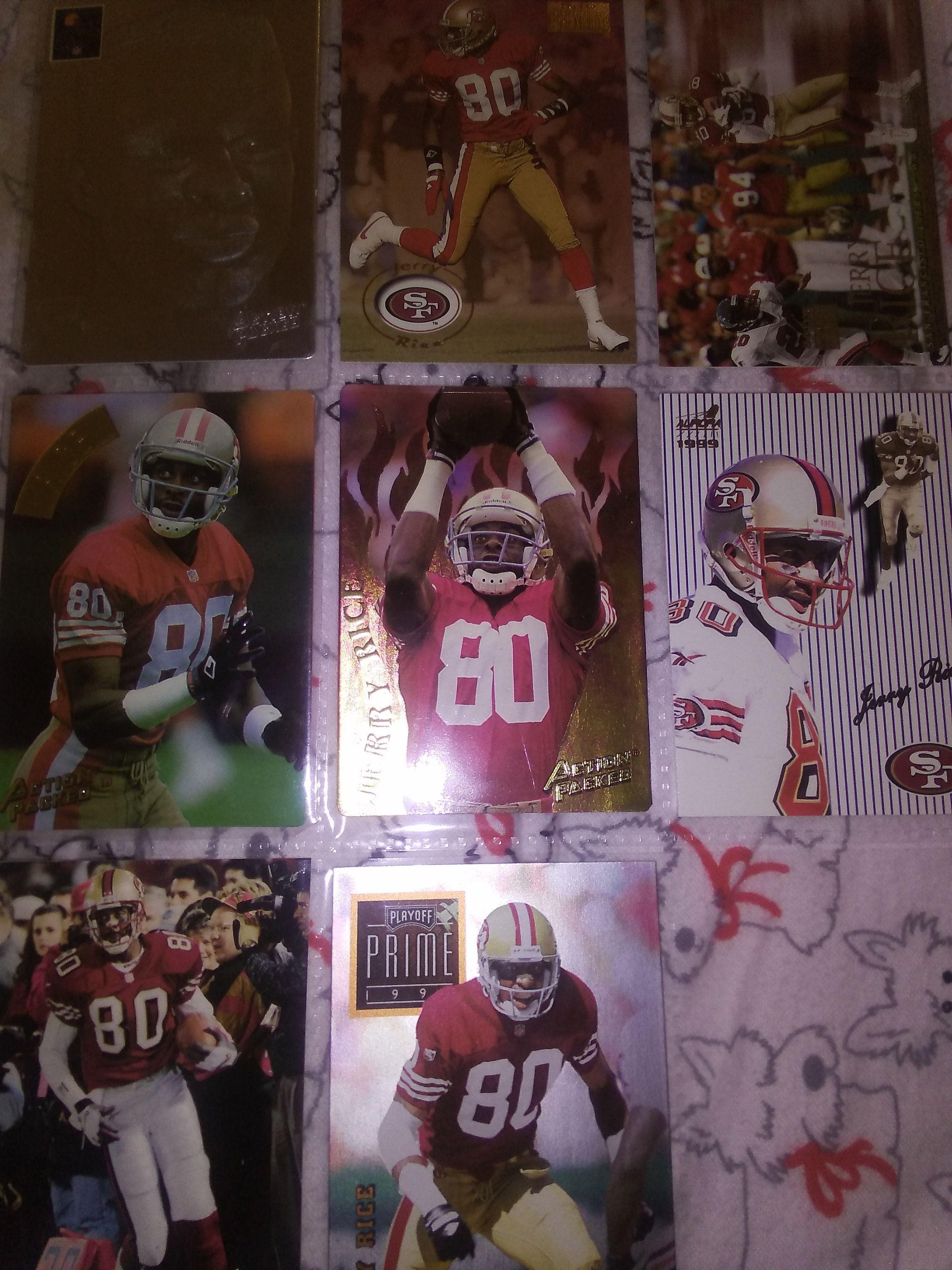 Football cards lot of 9 jerry rice football cards san