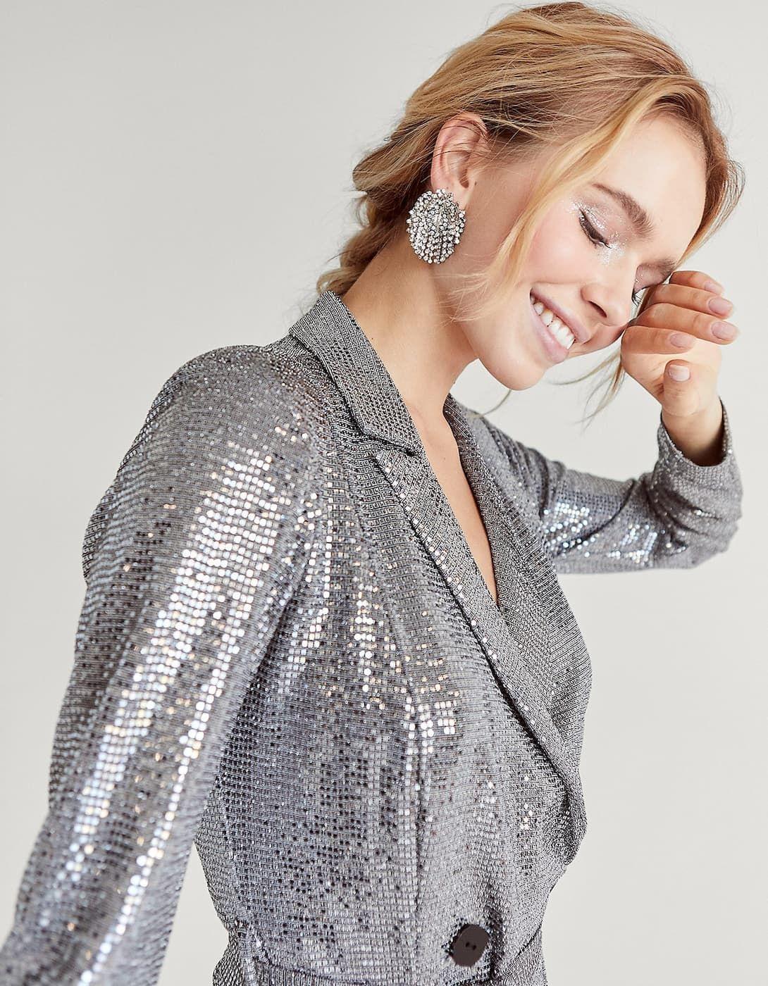 niño precio baratas diseño innovador Vestido blazer lentejuelas plateado - Nuevo de mujer ...