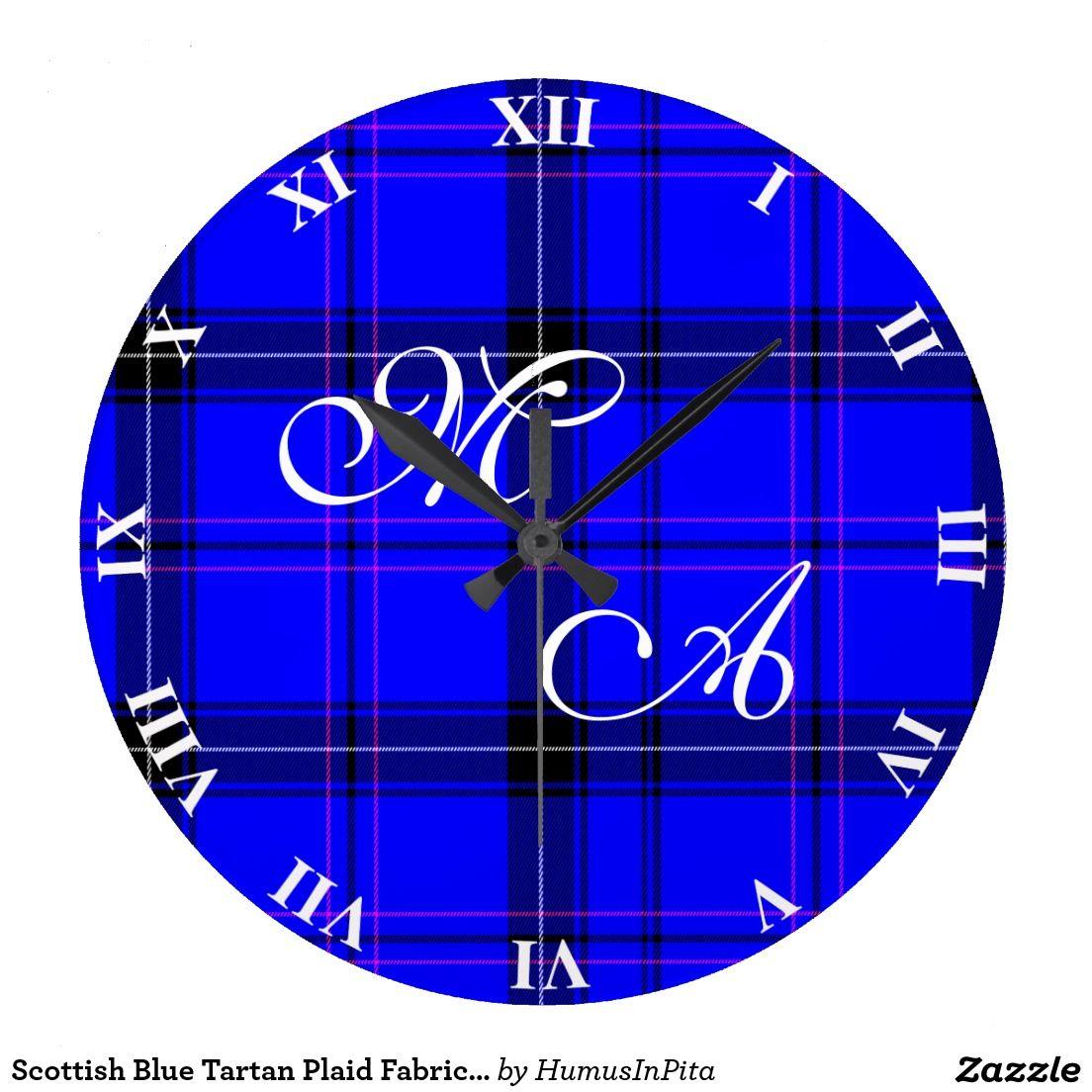 Scottish Blue Tartan Plaid Fabric With Monogram Large Clock