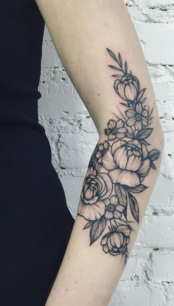 Tattoo Ideas For Women Blac Flower Fleur Arm Sleeve