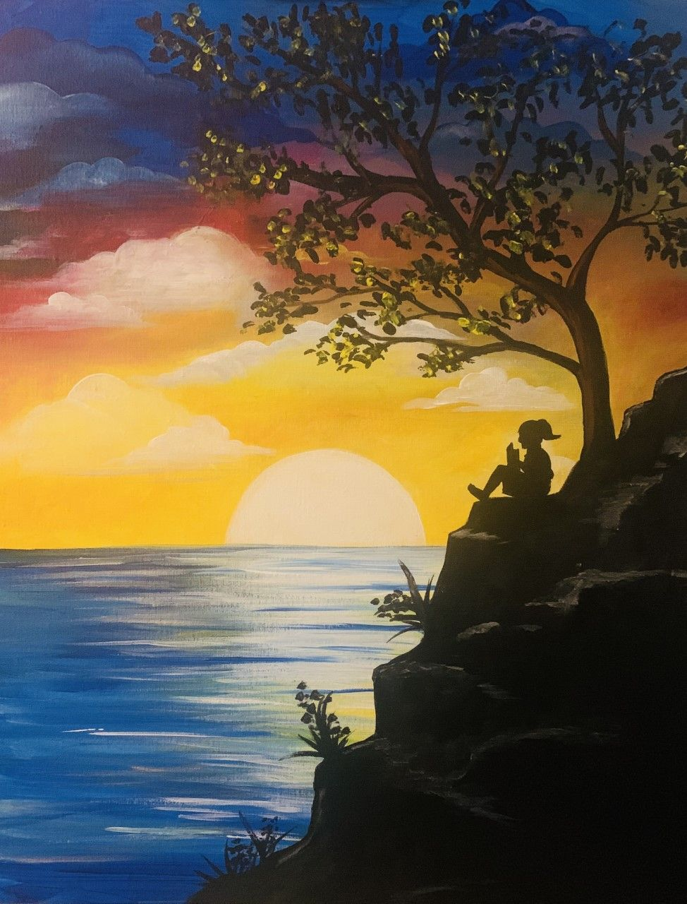 How Relaxing Is This View Beautiful Painting Of Nature Sunset Painting Ocean Sea Tree Therapeutic Sunset Painting Abstract Landscape Painting Painting