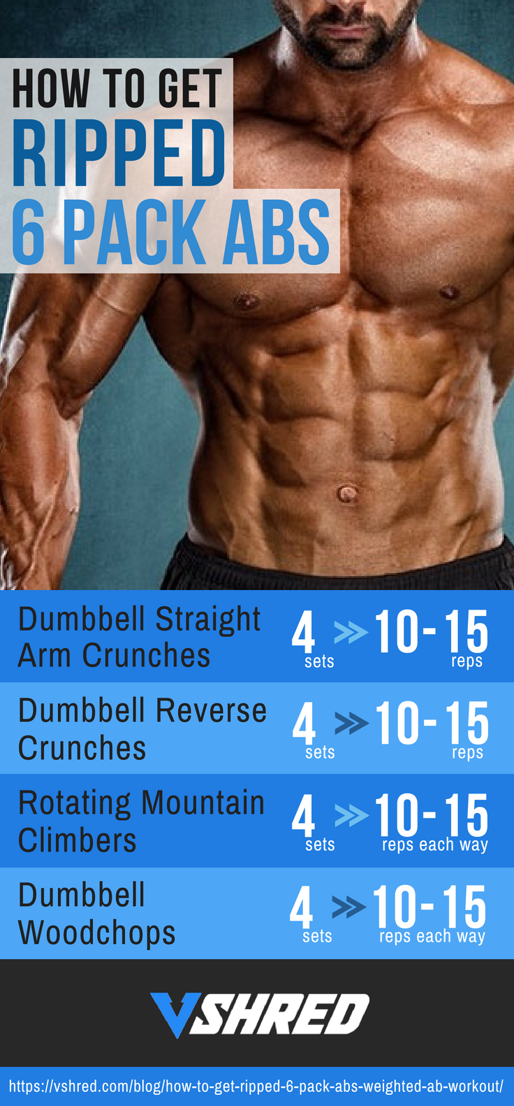 How To Get Ripped 6 Pack Abs Weighted Ab Workout Get 6 Pack Abs With A Workout That Requires Only A Dumbbell G Abs Weights Ripped Abs Get Ripped Workout
