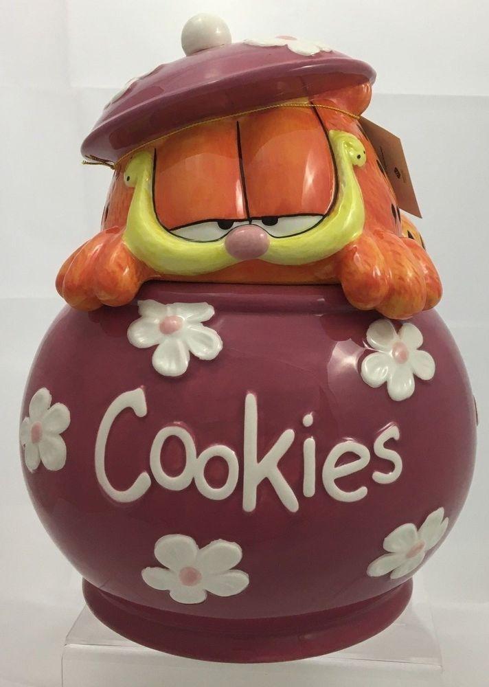 Garfield Cookie Jar Garfield Cookies Cookie Jar Pink Ceramic Flower Kitty Garfield The