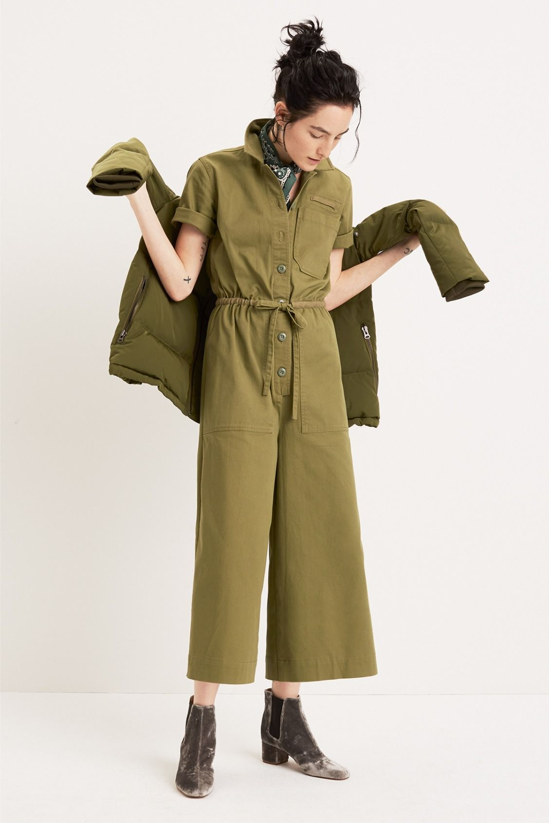 8310c8c3b2f madewell wide-leg utility jumpsuit worn with the quilted down parka +  walker chelsea boot. call 866 544 1937 or email shopfirst madewell.com to  pre-order.