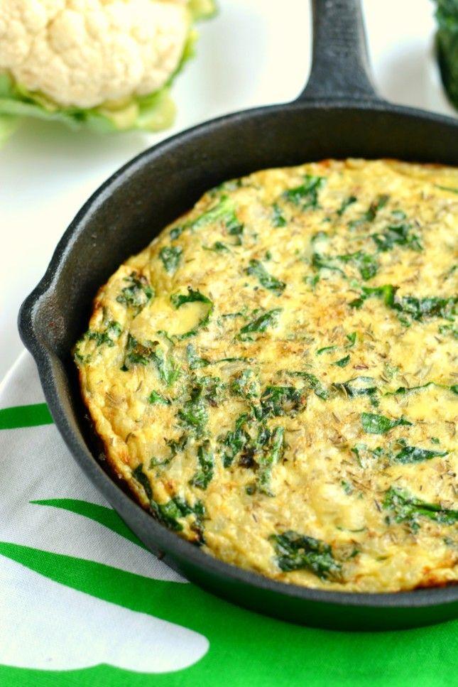 Cauliflower Kale Frittata Gf Low Cal Paleo Skinny Fitalicious Frittata Recipes Kale Frittata Frittata Recipes Healthy