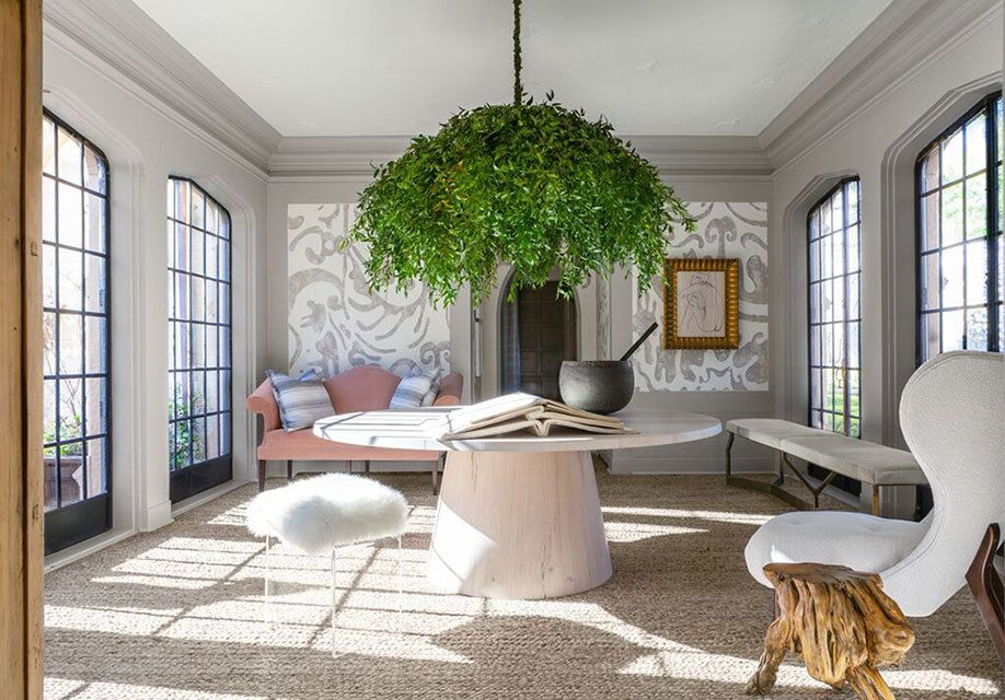 """Lake Forest Showhouse """"Garden Room"""" incorporates a variety of materials and styles, while still imparting a spacious, uncluttered feel"""