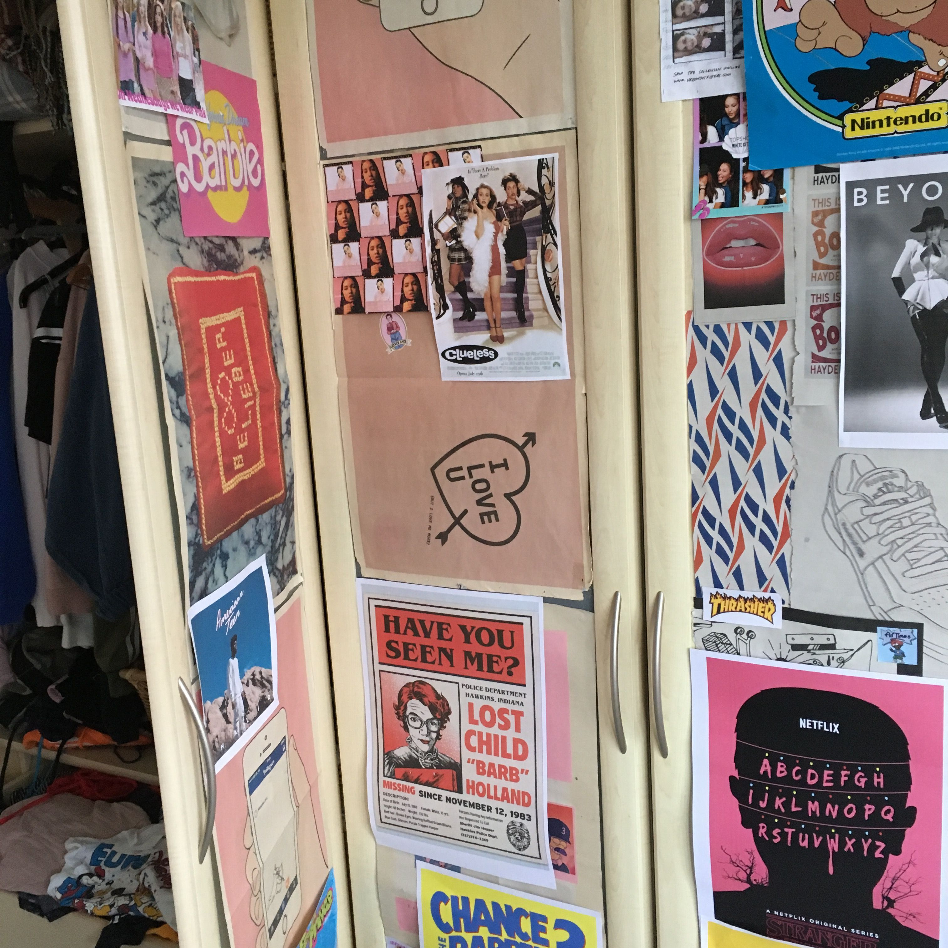 Poster Wall Aesthetic Pink Wardrobe Doors (With Images