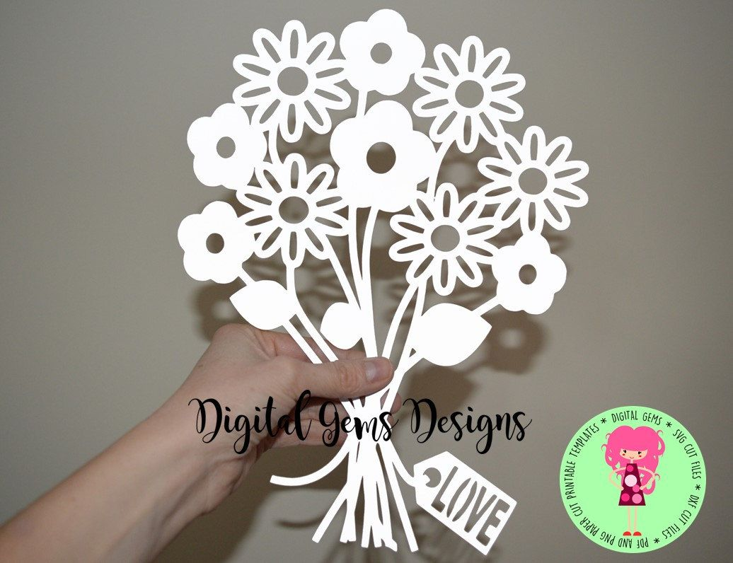 Bunch Of Flowers Paper Cut Svg Dxf Eps Files And A Printable