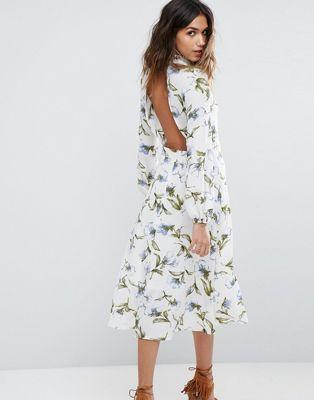 Boohoo Lace Trim Open Back Midi Dress Fashion Dresses