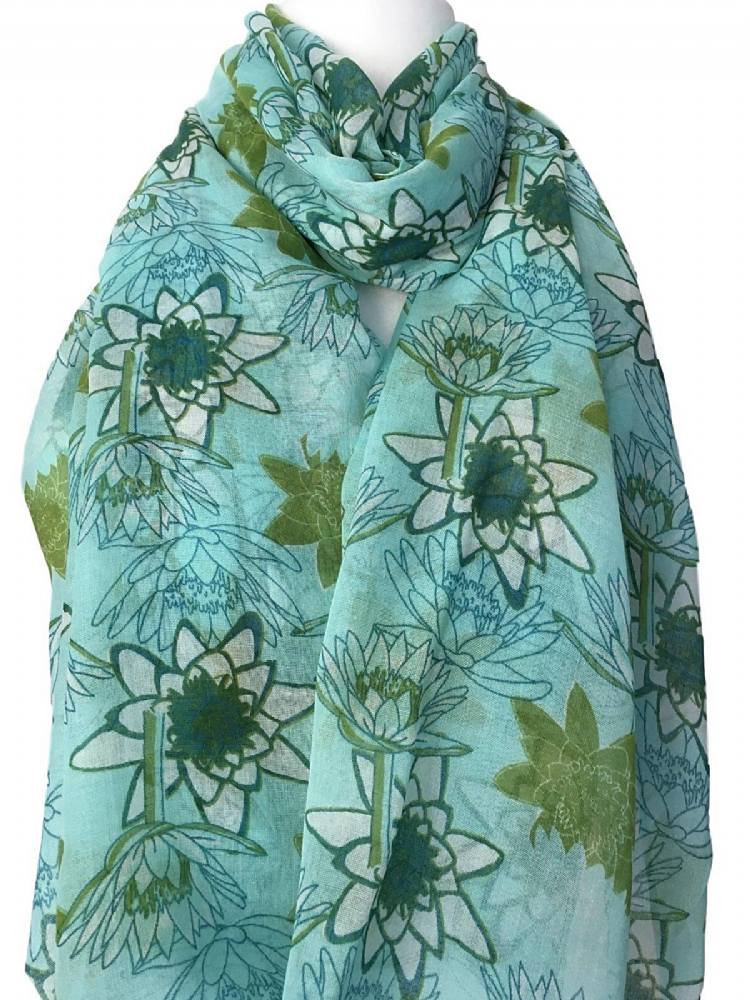 e207e3d724df6 Large turquoise blue scarf with a lime green and white floral print long wide  lightweight and soft Measurements approx 76 inch 190 cm in length