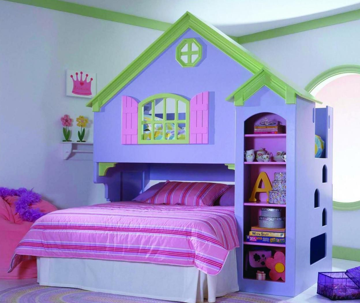 Lovely Attractive Kids Bedroom Sets Style Visualized With House Shaped Bed And  Pink Bean Bag Couch