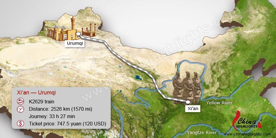 Xi An To Urumqi Train Route Map Train Journey China Train Train Route
