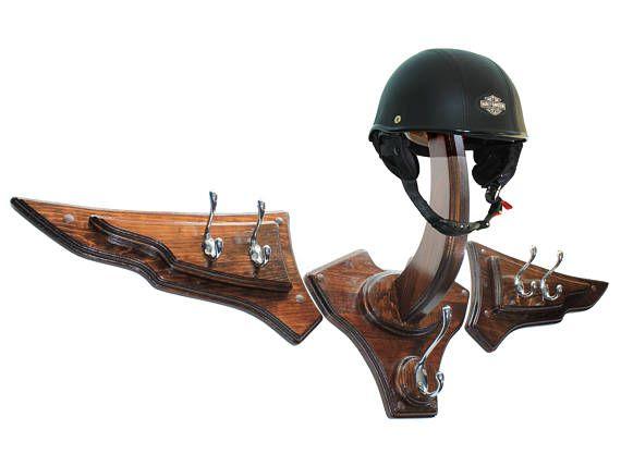 V-Twin Motorcycle Helmet Holder - Wall Mount Helmet Rack - Double Wing Motorcycle Helmet Hanger - Bikers Gear Rack - Bikers Helmet Display