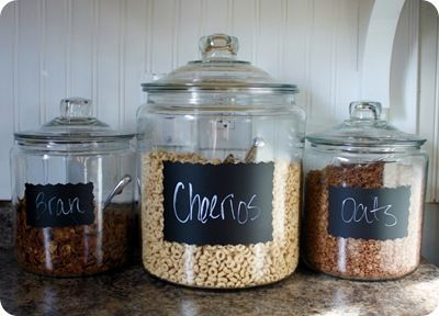 Inexpensive plain glass jars a simple stencil charkboard paint and