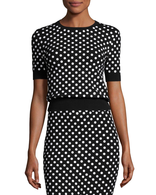 Polka-Dot Short-Sleeve Crewneck Sweater, Black/White