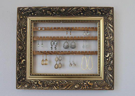 Framed Earring Organizer Earring Organizer Frame Wood Jewelry