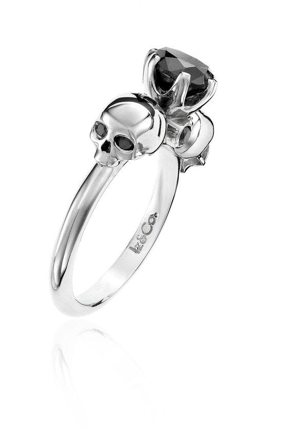 1ct Black Diamond & Silver Skull Ring | Rings | Diamond