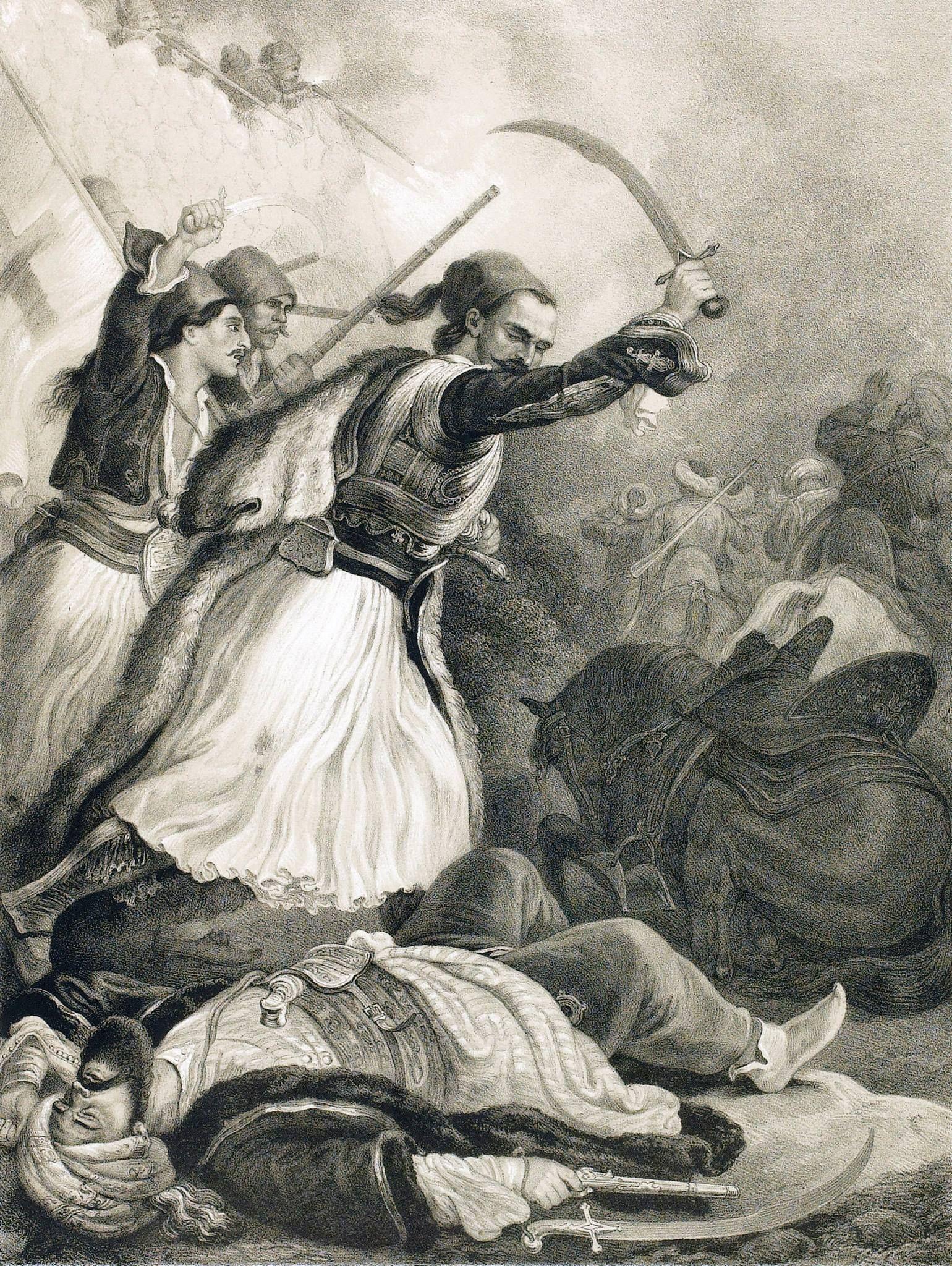 Peter Heinrich Lambert von Hess, περ. 1835, ο Αναγνωσταράς - Αναγνώστης  (Χρήστος) Παπαγεωργίου, νικά τους Τούρκους στη Μάχη του … | Greek  independence, History, Art