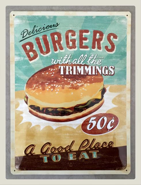plaque métal emboutie avec burger, décoration vintage style diner ...