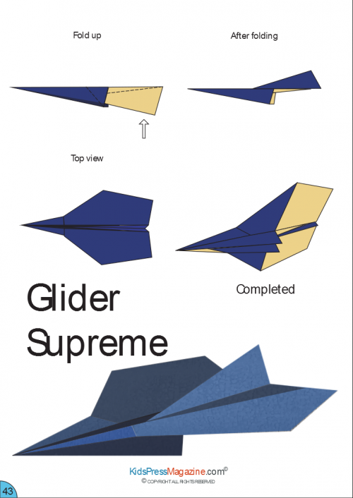 image relating to Printable Paper Airplane Designs called Paper Plane Directions Glider Final Misc. Craft
